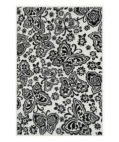 This Ivory & Black Butterfly Gracie Rug is perfect! #zulilyfinds