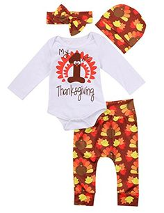 0acfcbe30133 Thanksgiving Outfit Newborn Baby Boy Girl Letter Print Romper Turkey Print  Pant Hat Headband 4pcs Clothes