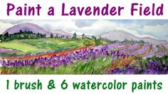 The Frugal Crafter Watercolor Tutorials on YouTube - Lavender Field Landscape