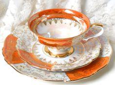 lusterware tea cup trio orange tea cup luster by MinoucBrocante Vintage Dishes, Vintage China, Vintage Teacups, Cup And Saucer Set, Tea Cup Saucer, Orange Tea Cups, My Tea, High Tea, Tea Time