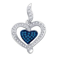1/4CT-Diamond HEART BLUE PENDANT