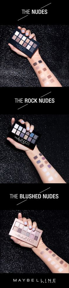 Have you gone nude yet? Maybelline The Nudes eyeshadow palettes have the perfect shades for your every day. Neutral on with the original makeup palette, The Nudes. Create deep smokey looks for evening with The Rock Nudes. Get romantic with rose gold hues with The Blushed Nudes. Your makeup game will be at peak fleek, guaranteed. For more summer weekend and evening makeup inspiration, visit Maybelline Makeup Tips.