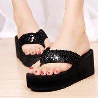 Wish   TMO Sequins Women Shoes Beach Slippers Flip Flops Sandalias Plataforma Women Wedges Women Sandals 2016 Slippers Shipping Free