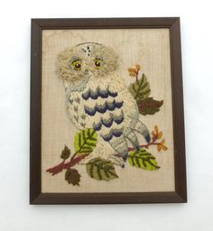 Vintage Crewel Embroidery Owl Wall Hanging by BornAtTheWrongTime on Etsy, $10.00
