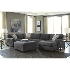 Ashley Sorenton 4 Piece Right Chaise Sectional With Ottoman In Slate