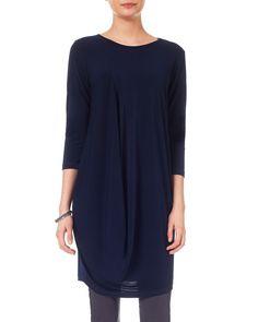Work Dresses | Blue Drape Tunic Dress | Phase Eight