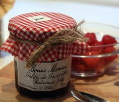 Red gingham jam jar covers set of 6 by FrenchPantry on Etsy, $10.00
