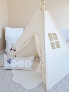 Large Natural Canvas Play Tent Teepee Playhouse by AshleyGabby, $125.00