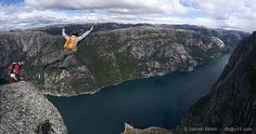 looking at stuff like this just makes me wanna go even Base Jumping, Skydiving, Extreme Sports, Norway, Paragliding, Adventure, Places, Water, Bucket