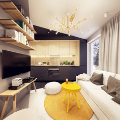 Eighteen Square Meters on Behance Studio Interior, Apartment Interior, Interior Design, Studio Apartment Layout, Small Places, Square Meter, Beautiful Space, Small Apartments, Home And Living