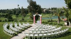 A semi circle provides a more intimate feel while leaving the view unspoiled in this outdoor wedding ceremony venue.  Canyon Crest Country Club in Riverside, California
