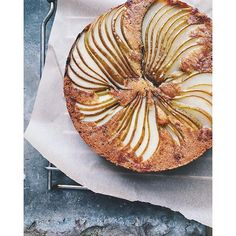Pear and stem ginger upside down cake with brown butter.