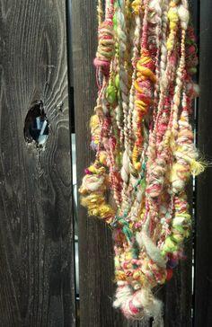 Pastel Slug Party hand spun art yarn by girlwithahook
