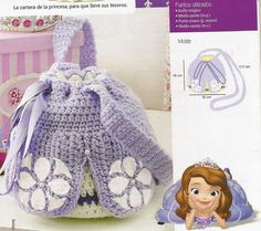Princesa Sophia, Crochet Angels, Knitted Bags, Drawstring Backpack, Back To School, Costumes, Crafty, Dolls, Knitting