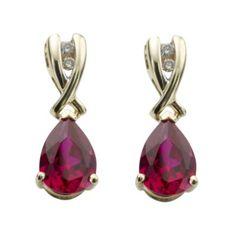 9ct gold created ruby and diamond drop earrings- Ernest Jones #ernestjones #ruby #diamonds