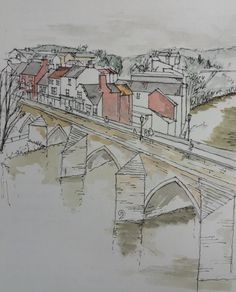 watercolour and ink sketch Durham, Watercolor And Ink, Louvre, Sketch, Group, Artwork, Travel, Sketch Drawing, Work Of Art