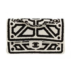 Pre-Owned Chanel Black and White Embroidered Double Flap Bag (22 925 PLN) ❤ liked on Polyvore featuring bags, handbags, clutches, special occasion handbags, beaded evening purse, chanel, chanel pochette and beaded purse