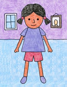 How to Draw Children · Art Projects for Kids Basic Drawing For Kids, Drawing Lessons For Kids, Easy Drawings For Kids, Drawing For Children, How To Draw Kids, Easy Cartoon Drawings, Colorful Drawings, Cute Drawings, Painting For Kids