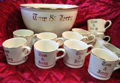 A traditional Tom & Jerry set.  This one is on ebay: http://www.ebay.com/itm/Vintage-Hall-Tom-and-Jerry-Egg-Nog-Punch-Bowl-Set-With-12-Cups-by-Hall-/331076785347?pt=LH_DefaultDomain_0&hash=item4d15b6d4c3