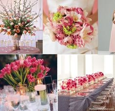 Spring wedding flowers. Grey & fuschia with birch and white china    https://www.facebook.com/GlobalPetals