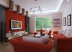 Sala decorada en rojo y blanco