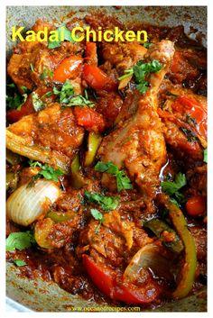 Kadai chicken / chicken karahi Indian Chicken Recipes, Easy Chicken Recipes, Indian Food Recipes, Asian Recipes, Spicy Recipes, Curry Recipes, Cooking Recipes, Duck Recipes, Chicken Karahi