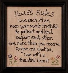Amazon.com: House Rules Framed Stitchery for Wall Decor: Home  Kitchen