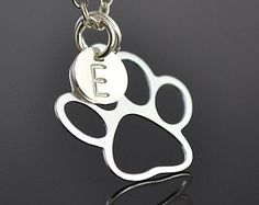 Paw Necklace, Sterling Silver Dog Paw Charm with Initial Disc,  monogram Gift for Pet Lover, Paw Print Necklace, Animal Jewelry by malizbijoux. Explore more products on http://malizbijoux.etsy.com