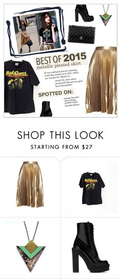 """Best of 2015: Metallic pleated skirt"" by anisha-b ❤ liked on Polyvore featuring A.L.C., Givenchy, Chanel and bestof2015"