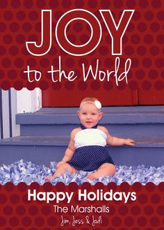 Joy to the World Happy Holidays Photo Card with Polka Dots. Available for purchase/customization at www.etsy.com/shop/simplypaperdesigns