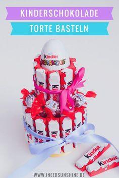 Kinderschokolade Torte Anleitung: Schnelle DIY Idee zum Kindergeburtstag, Geburtstag für Kollegen oder Freunde. Geschenke selber machen schnell und einfach mit Kinderriegel.