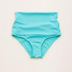 Aerie Hi-Rise Foldover Bikini Bottom (€27) ❤ liked on Polyvore featuring swimwear, bikinis, bikini bottoms, blue, swim bikini bottoms, blue swimwear, blue bikini bottoms, aerie swimwear and low rise bikini