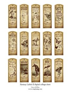 Fantasy Magic Potion Labels II digital collage sheet 15 labels for decoupage witches brew supplies and more. $4.50, via Etsy.
