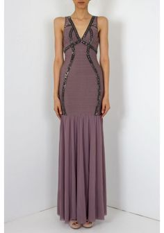 Forever Unique - 'Anastasia' V neck Maxi Dress in panelled Bandage Mink | With mesh skirt , V neck and beading embellishment. This Forever Unique dress has an invisible zip at the back with hook and eye fastening.