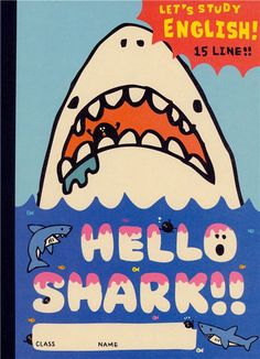 funny great ghite shark notebook exercise book by Kamio from Japan