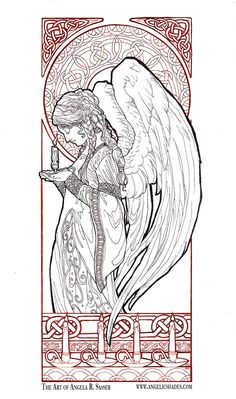 the finished painting click download for a medium res copy of this image to color - Art Nouveau Unicorn Coloring Pages