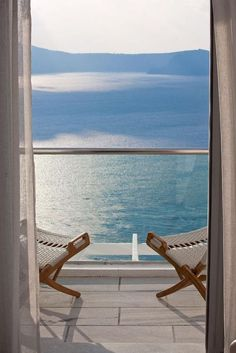 This is a perfect example of what is called a table mountain in the distance a Feng Shui Term.not to mention an inviting setting Romantic Vacations, Romantic Travel, Window View, Through The Window, Santorini Greece, Photo Instagram, Greece Travel, Great View, Coastal Living