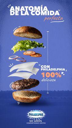 Esta hamburguesa de res la querrás para ti solito.  #recetas #receta #quesophiladelphia #philadelphia #quesocrema #queso #comida #cocinar #cocinamexicana #recetasfaciles #recetasPhiladelphia #cocina #comer  #hamburguesaderes #hamburguesa #hamburger Food Graphic Design, Food Menu Design, Food Poster Design, Social Media Poster, Social Media Design, Food Advertising, Advertising Design, Corel Draw Design, Food Banner