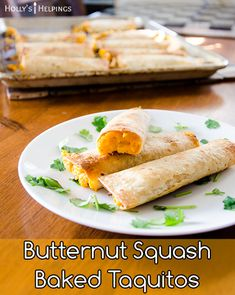 These baked vegetarian taquitos are a Mexican classic with a twist. Use butternut squash to make it a little sweet and chipotles to make it a little spicy. Baked Butternut Squash, Baked Squash, Mexican Food Recipes, Vegetarian Recipes, Dinner Recipes, Chipotle In Adobo Sauce, Baked Taquitos, Orange Recipes, Orange Foods