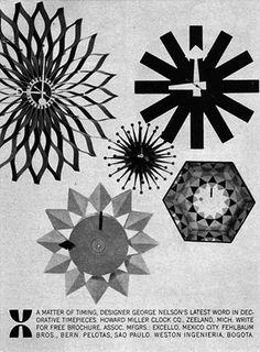 Howard Miller Clocks GEORGE NELSON Asterisk SUNFLOWER 1961 Magazine Ad