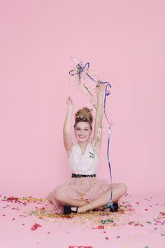 Glitter Girl: Cloe Lane Of Bon Pouf Perfect picture. Beautiful blonde with confetti. Photography by Kimberly Genevieve