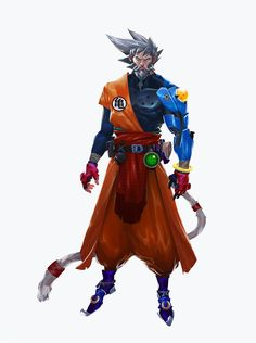 An older, more serious, grey haired Goku who's been through alot.He lost his arm in a battle but Bulma build him a new one, powered by the four star dragon ball, the one his grandfather Gohan gave him.