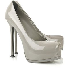 Grey Patent Leather Platform Pumps