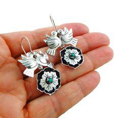 Lovebirds 925 Sterling Taxco Silver Maria Belen Bird Earrings #DropDangle