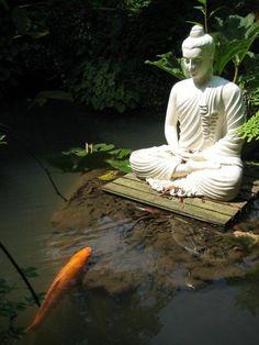 Very Zen! Buddha with Koi pond Art Buddha, Buddha Zen, Buddha Buddhism, Buddha Wisdom, Gautama Buddha, Carpe Koi, Little Buddha, Small Space Gardening, Buddhist Art