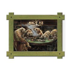 Framed in a rustic-style design, these distressed frames, are the perfect complement to the art they enhance group of five grizzly bears playing cards around a poker table. Art by Mason Maloof Designs.