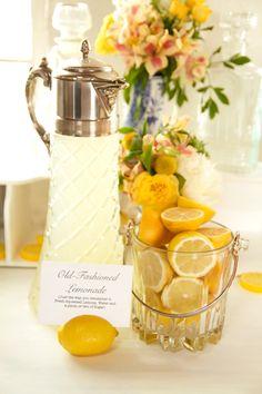 Use lemons as buffet card holders