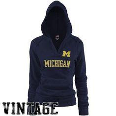 Michigan Wolverines Ladies Navy Blue Rugby Vintage Hoodie Sweatshirt #fanatics