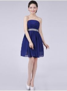 RANIA - A-line Knee length Chiffon Strapless Chinese Cheap Wedding Party Dress