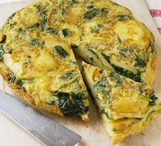 Spanish spinach omelette:    400g bag spinach leaves  3 tbsp olive oil  1 large onion , finely sliced  2 large potatoes , peeled and finely sliced  10 eggs